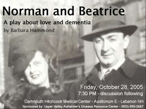 Norman and Beatrice, a play about love and dementia by Barbara Hammond